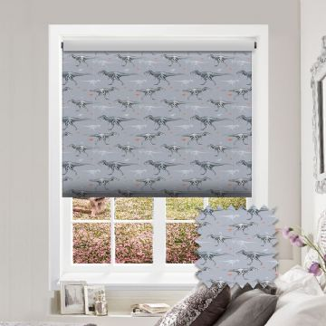 Dinosaurs Patterned Premium Blackout Roller Blind in Theo Graphite